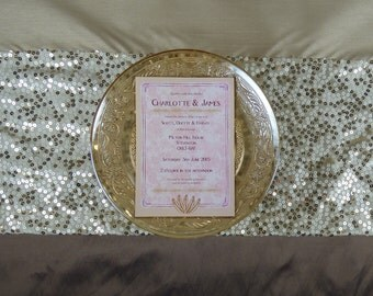 Blush Floral 1920s Wedding Invitation