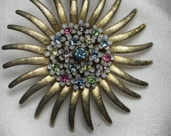 Vintage Sunflower Brooch Tons of color