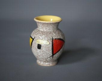 WEST GERMAN POTTERY Vase, Scheurich 214 10 Label, Mini German Vase, Mid Century German Vase, Made Germany, Small 1950s German Vase