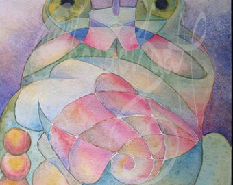 """Original Abstract art - watercolor - 25.5x35.5cm - """"Frog and Dragonfly"""""""