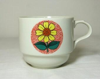 Mod daisy flower WEIDMANN Italy porcelain coffee mug - French 70s vintage