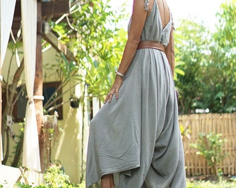 Harem jumpsuit, sleeveless jumpsuit, gray drape dress, summer boho dress, flowy dress, beach jumpsuit, gray overall, gray harem pants, chic