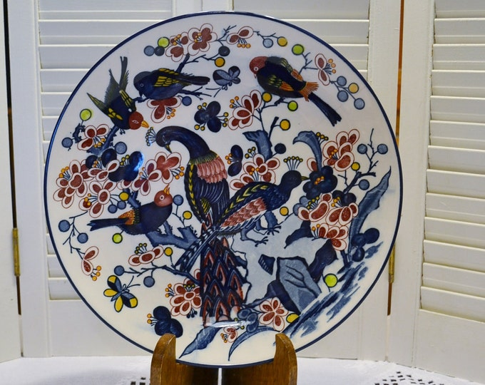 Vintage Blue Peacock Birds Plate Platter Flower Branch Hand Painted Japan PanchosPorch