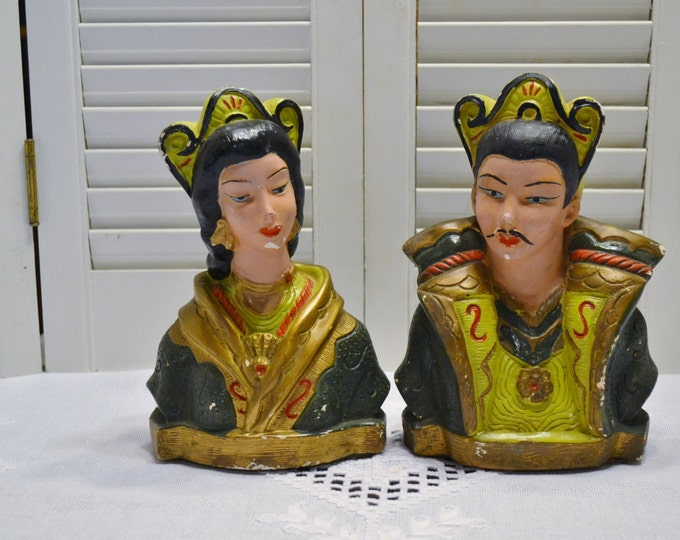 Vintage Asian Figurines Man Woman Hand Painted Plaster Bookends American Art Industries Kitsch Chinoiserie Green Panchosporch