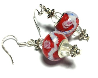 Red Earrings, All Glass Beads, Vintage Style Silver Tone - Hooks, Clip-On,  Butterfly Studs or 925 Silver Hooks (ET8-31)
