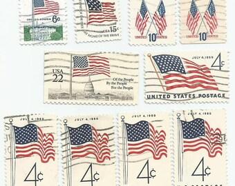 10 USA American Flag Used Postage Stamps