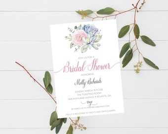 Succulent Boho Baby Shower Bridal Shower Invitation Simple Pastel and Grey