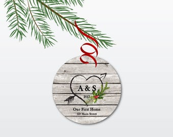 Our First Home Christmas Ornament - Personalized New Home Ornament - Rustic Ceramic Ornament with Heart - Unique Housewarming Gift