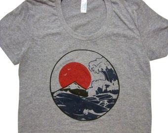 Womens wave shirt. Giant wave, Japanese art T-shirt. American apparel.