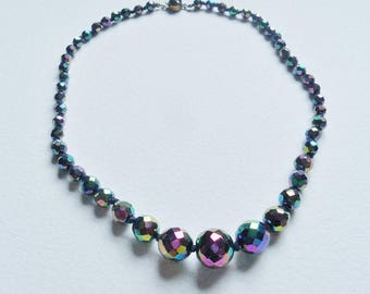 Dark Aurora Borealis Necklace Vintage Single String Rainbow Colours Graduated Faceted Sparkly Beads 18 Inch Party Bling