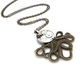 Steampunk Octopus Pendant Necklace - Clockwork Cephalopod Necklace - The Brainiacs - Clockpunk Octopus