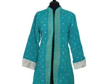 KANTHA JACKET - Large - Long style - Size 14/16 - Turquoise. Reverse light beige.