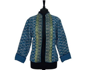 KANTHA JACKET - X Large - Short style - Size 14/16 - Blue design. Reverse plain blue