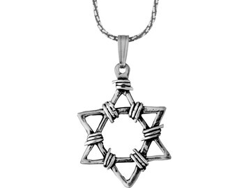 Sterling Silver Judaica Mens Pendant Star Of David Necklace Bar Mitzvah Gift