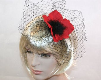 Handmade Red Poppy Hair Flower with Black Birdcage Veiling set on Head band perfect for races hair band wedding hair flower red poppy flower