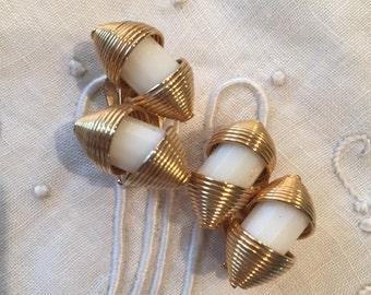 Vintage HOBE White Clip On Earrings Lucite