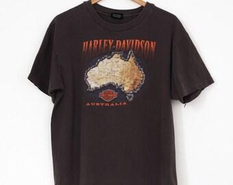 VTG jaren 1980 Harley Davidson Australië T Shirt Sz. L grote Tee motorfietsen Southport Gold Coast