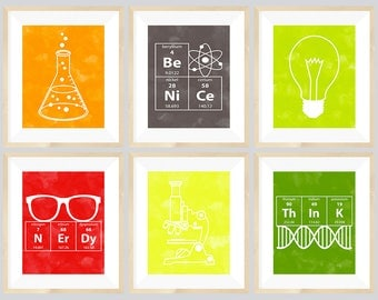 Science Nursery Art  - set of 6- 8x10 Instant Download Printables with Erlenmeyer Flask, DNA, Elements for science themed bedroom or nursery
