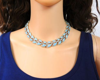 Coro Blue Necklace Light Blue Rhodium Choker Necklace Enamel over Silver Rhodium Wide Blue Vintage Coro Jewelry