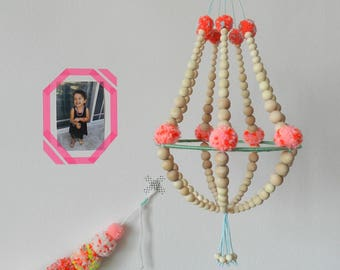 Wooden beads and pompons chandelier,hanging decor, ceiling decor, nursery mobile, handmade