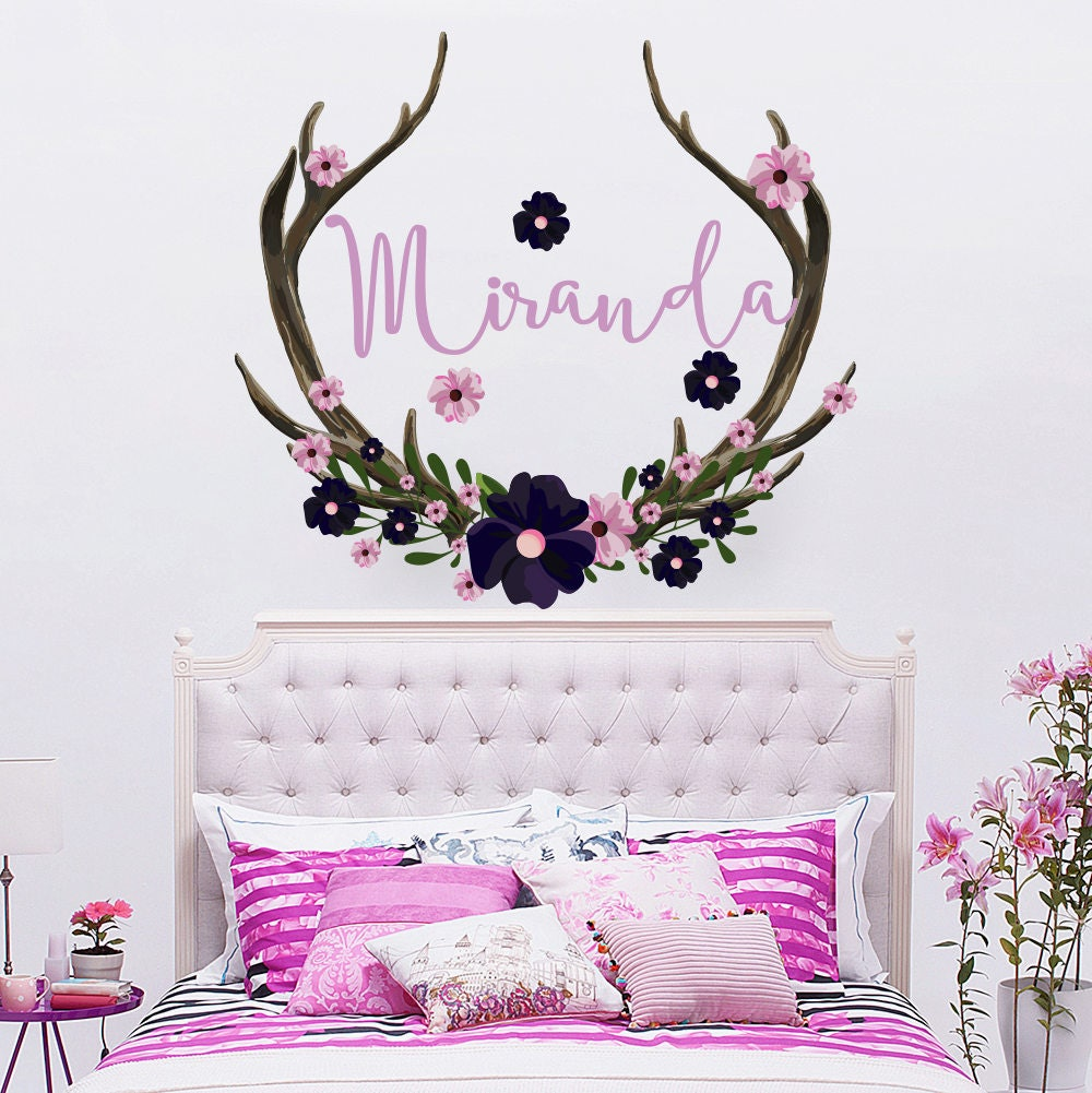 Name Wall Decal Rustic Nursery Decor Antlers Horns Deer Name