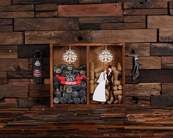Beer Cap Holder Personalized Shadow Box FREE Bottle Opener Corkscrew Wine Cork Holder, Couple , Craft Beer His and Hers, Wedding Gift 025335