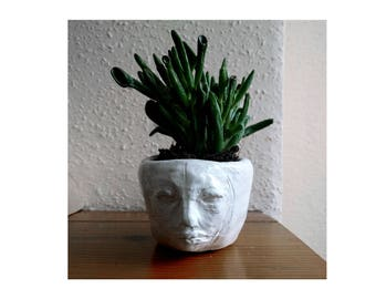ceramic plant potter or pot face sculpture handmade face