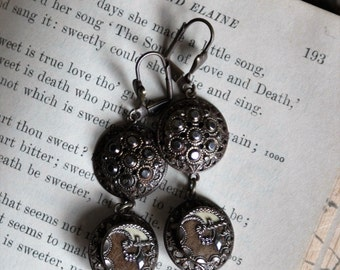 Assemblage Victorian Perfume Button Earrings Circa 1890-1910 withTwisted 1940s Pearls- Romantic Upcycled Jewelry
