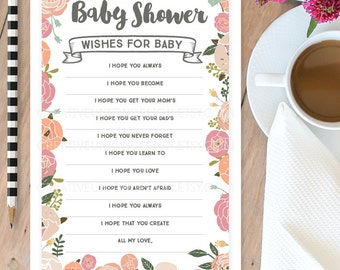 Wishes For Baby Shower Game - Vintage Rose Wishes - Baby Shower Game - Advice - DIY Printable Game - Instant Download