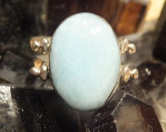 Larimar, Coral and Sterling Silver Flip Ring (reversible)..... size 5 only