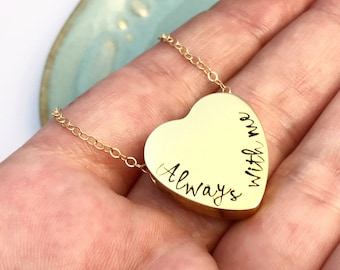 Gold Urn Necklace ~ Cremation Jewelry ~ Always with me ~ Heart Pendant ~ Remembrance Keepsake ~ Memorial ~ Sympathy ~ Loss ~ Bereavement