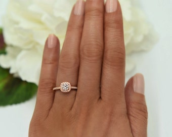 3/4 ctw Classic Square Halo Engagement Ring, Man Made Diamond Simulant, Half Eternity Ring, Promise Ring, Sterling Silver, Rose Gold Plated
