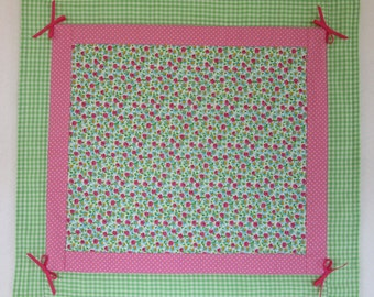 """Doll Quilt, 18"""" x 19.5"""", Pink, Green, Roses, Gingham, Bows, Floral Quilt, Free Pillow"""