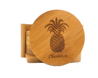 Personalized Coasters, Set of 6 - Bamboo Coasters - Custom Coasters - Custom Kitchen Accessories