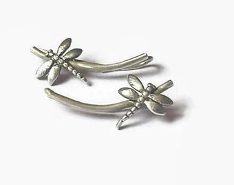 Dragon fly ear climbers, sterling silver, ear climbers, ear crawlers, ear cuffs, dragon fly earrings