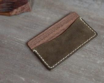 Wood leather wallet, walnut minimalist Wallet, Card holder, boyfriend's gift, navy wallet, credit card holder, wooden wallet, personalized