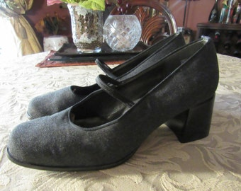 Grey Tweed and Leather Heels - Size 7M