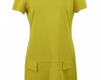 Vintage 1960s Mustard Yellow Mod Dress Size XL