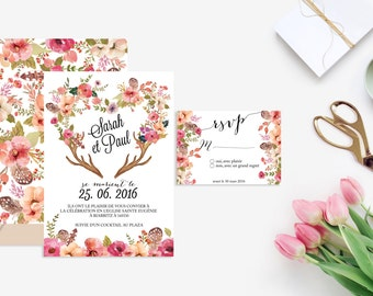 Printable Wedding invitation with rsvp card - Wedding invitation - Watercolor - Floral wedding, rustic, bohemian, boho, Wedding DIY