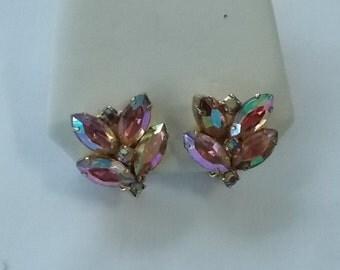 Pink Aurora Borealis Clip Earrings.  (249)