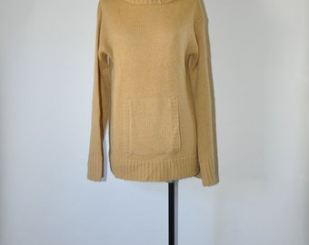 60s beige oversize pullover / 1960s turtleneck sweater / vintage chunky knit top