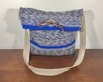 Mexican Blanket Purse, Shoulder Bag, Purse, Blue, Gray