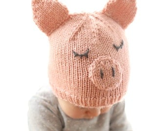 Little Pig Hat Baby KNITTING PATTERN - knit pig hat pattern for babies, infants, toddlers - sizes 0-3 months, 6 months, 12 months, 2T+