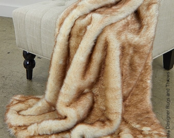 Luxurious Arctic Fox Faux Fur Throw Blanket  - Brown Tip - Silky Soft Minky Cuddle Fur Back - Fur Accents Designs USA