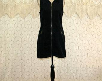 90s Black Jumper Dress Corduroy Mini Dress Zip Up Sleeveless Dress Medium Large Womens Jumper Casual Cotton Vintage Clothing Womens Clothing