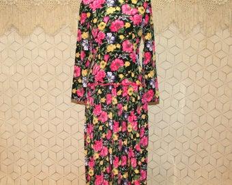 80s Floral Dress Long Sleeve Spring Dress Garden Dress Tea Dress Pleated Black Pink Medium Large 1980s Vintage Clothing Womens Clothing