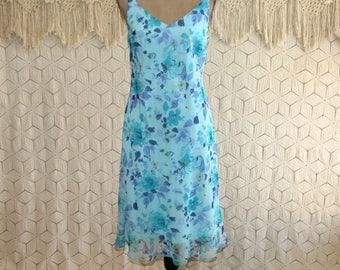 Blue Floral Dress Midi Romantic Boho Chiffon Sleeveless Summer Dress Small Medium Womens Dresses 90s Vintage Clothing Womens Clothing