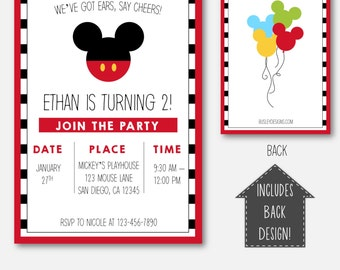 Mickey Mouse Invitation, Mickey Mouse Birthday, Mickey Mouse Birthday Invitation, Mickey Mouse Clubhouse Invitations, Mickey Mouse Clubhouse