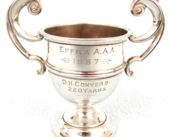 Vintage Trophy Cup, Art Deco, Sterling Trophy, Twin Handled Cup, Small Silver Trophy, Men's 220 Yards, Barker Brothers Silver, Quality Cup