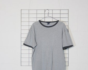 90's gap minimal faded grey ringer t tee shirt